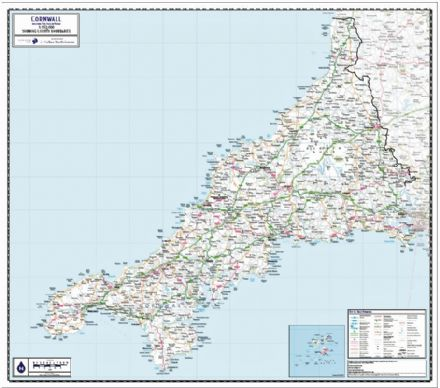 Cornwall (including Isles of Scilly) County Map